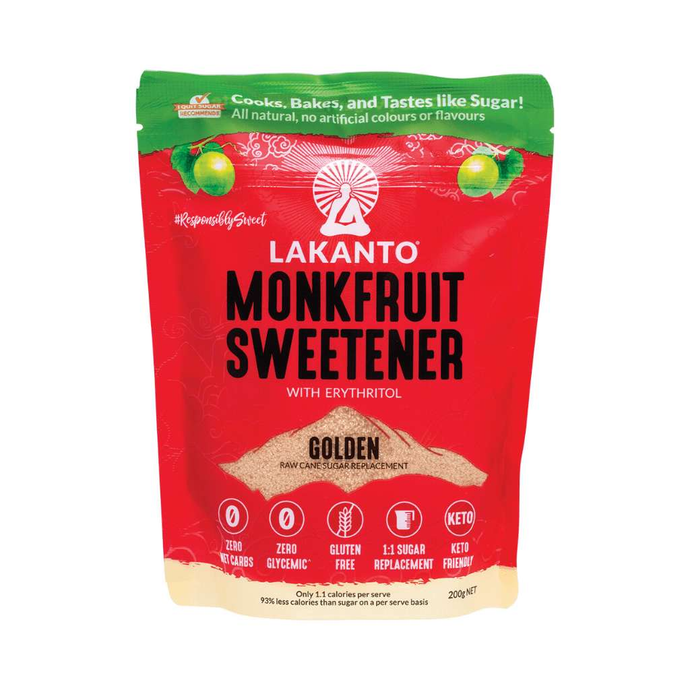Lakanto Monkfruit Sweetener Golden 200g - GoodnessMe