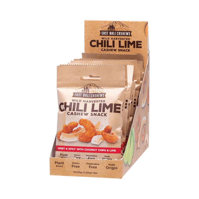 East Bali Cashews Chilli Lime Box of 10x 35g - GoodnessMe