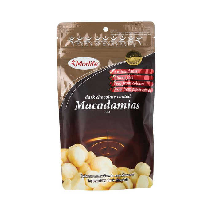 Morlife Dark Chocolate Macadamia Nuts 125g - GoodnessMe