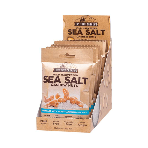 East Bali Cashews Sea Salt Box of 10x 35g - GoodnessMe