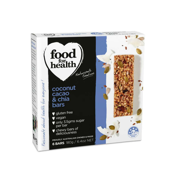 Food for Health - Coconut, Cocao & Chia Bars 180g