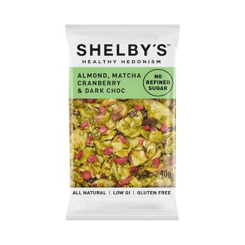 Shelby's Healthy Hedonism Original Bars Almond, Matcha, Cranberry & Dark Choc 12x 40g - GoodnessMe
