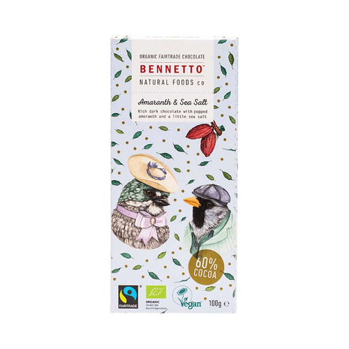 Bennetto	Organic Dark Chocolate Amaranth & Sea Salt 3x 100g - GoodnessMe