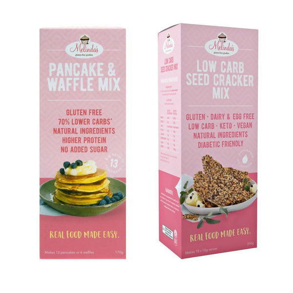 Melinda's Gluten Free Goodies Low Carb 6 x Pack Bundle (Pancake & Waffle Mix & Seed Crackers)