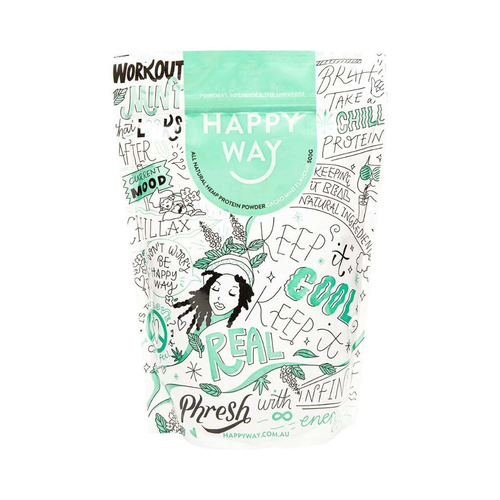 Happy Way Vegan Hemp Protein Cacao Mint 500g - GoodnessMe