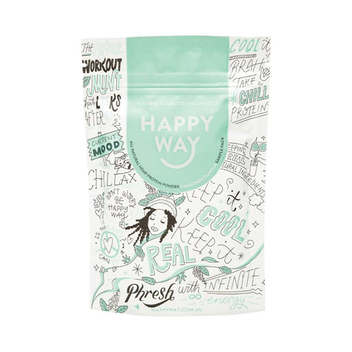 Happy Way Vegan Hemp Protein Cacao Mint 60g - GoodnessMe