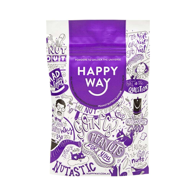 Happy Way Vegan Pea Protein Peanut Butter 60g - GoodnessMe