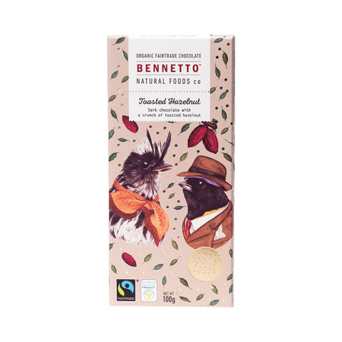 Bennetto	Organic Dark Chocolate Toasted Hazelnut 3x 100g - GoodnessMe