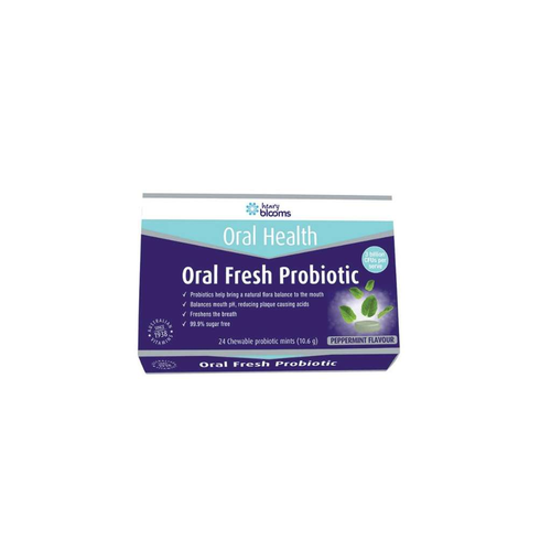 Henry Blooms Oral Health Oral Fresh Probiotic Chewable Peppermint x 24 Pack - GoodnessMe