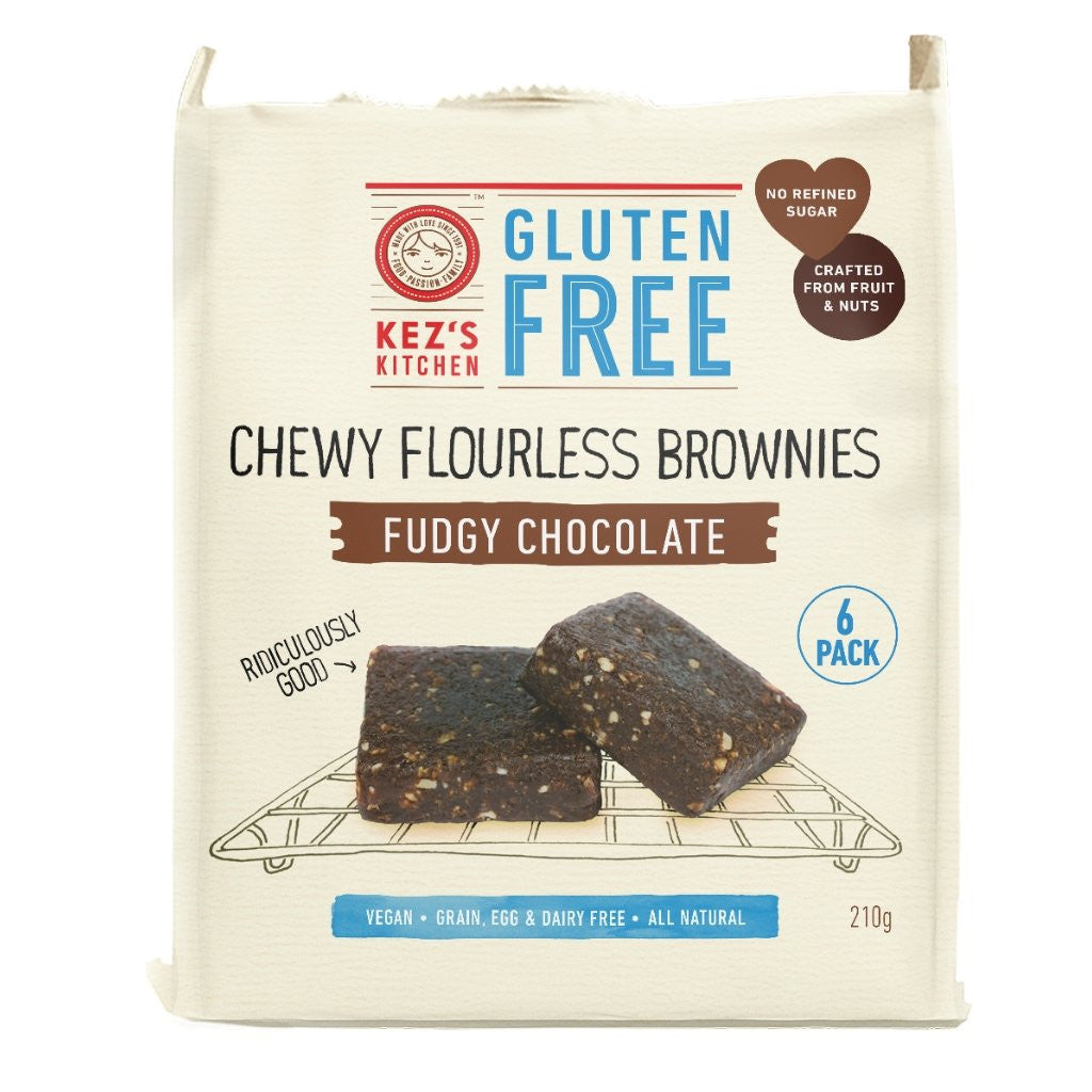 Kez's Kitchen Chewy Flourless Brownies Fudgy Chocolate 210g
