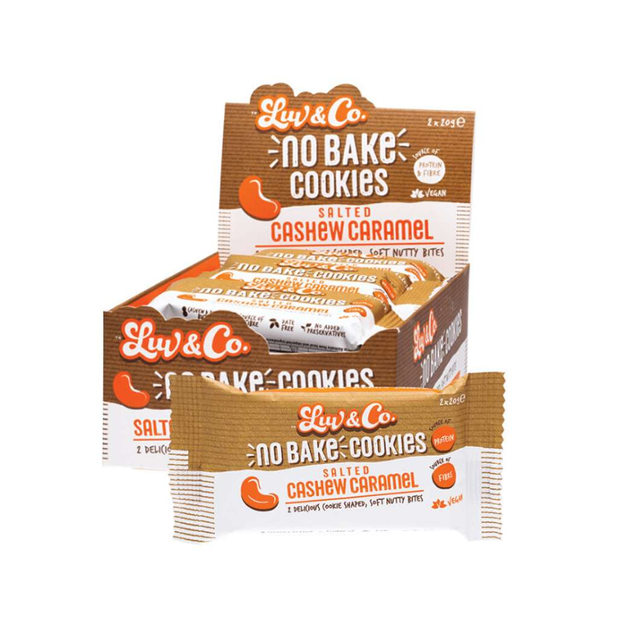Luv & Co No Bake Cookies Salted Cashew Caramel 12x 40g