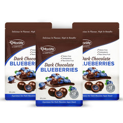 Morlife Dark Chocolate Coated Blueberries 3 x 125g Packs