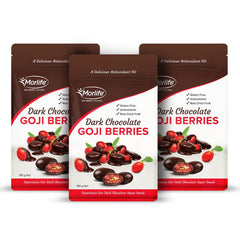 Morlife Dark Chocolate Coated Goji Berries 3 x 150g Packs