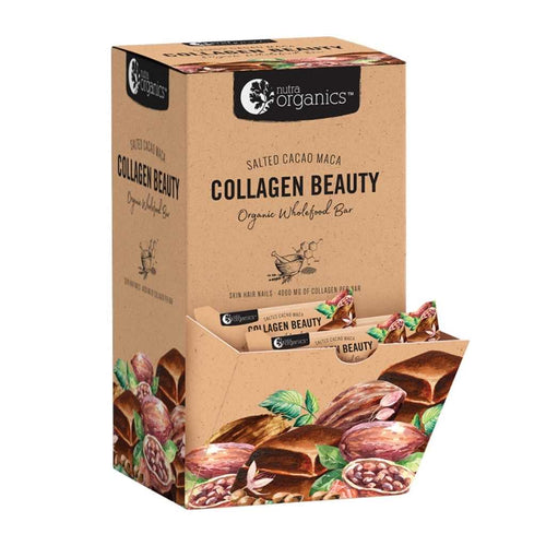 Nutra Organics Organic Wholefood Bar Collagen Beauty Salted Cacao Maca 30x 30g
