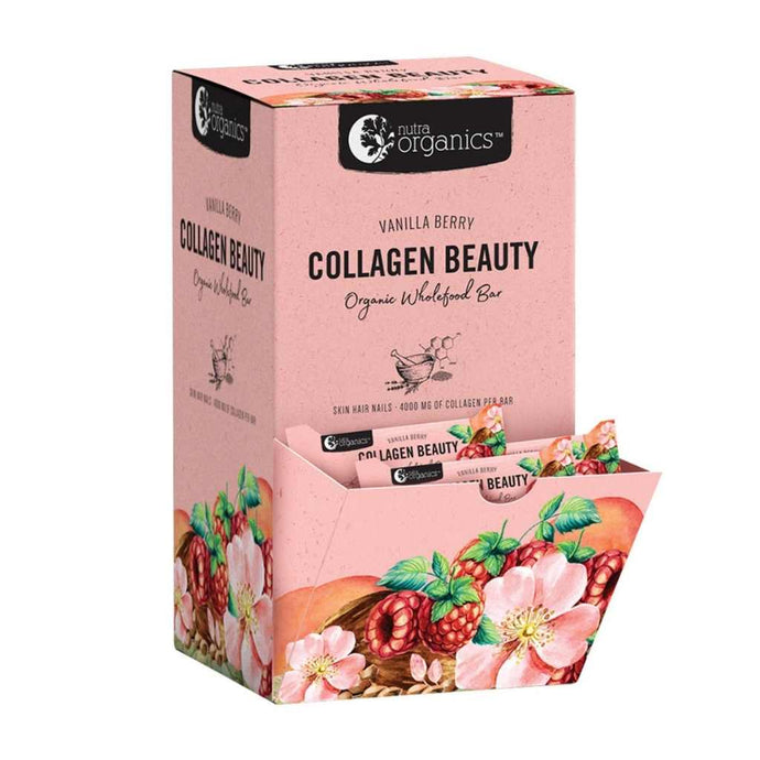 Nutra Organics Organic Wholefood Bar Collagen Beauty Vanilla Berry 30x 30g