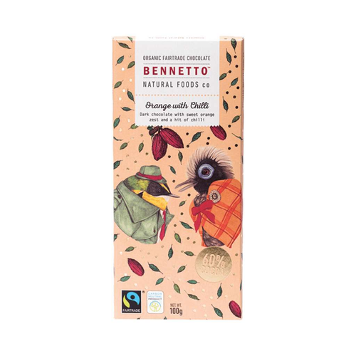 Bennetto	Organic Dark Chocolate Orange With Chilli 3x 100g - GoodnessMe