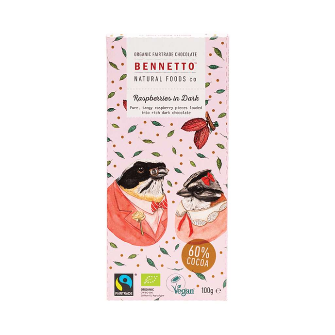 Bennetto	Organic Dark Chocolate Raspberries In Dark 3x 100g - GoodnessMe
