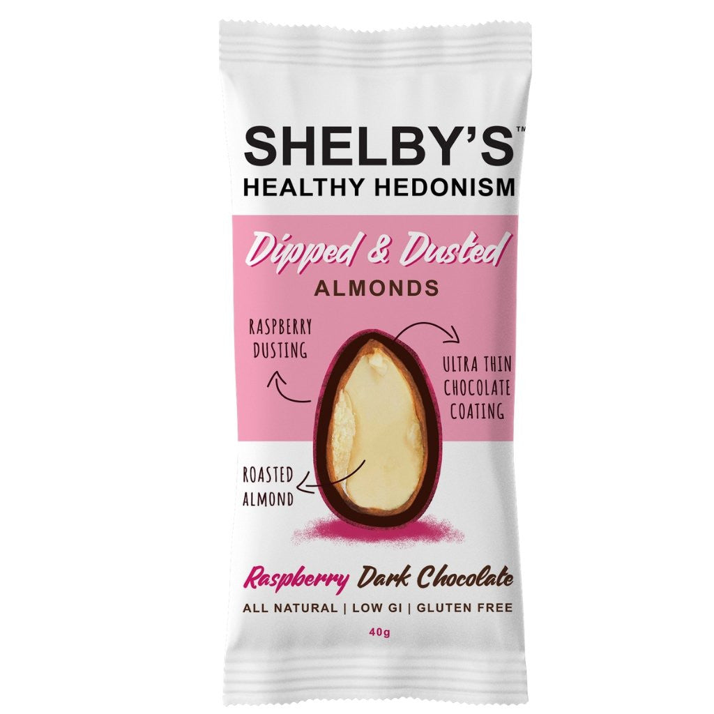 Shelby's Healthy Hedonism Dipped & Dusted Raspberry Dark Chocolate Almonds 40g