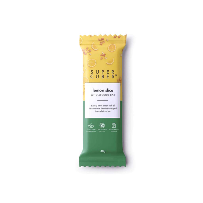 Super Cubes Lemon Slice Bar 10x 40g - GoodnessMe