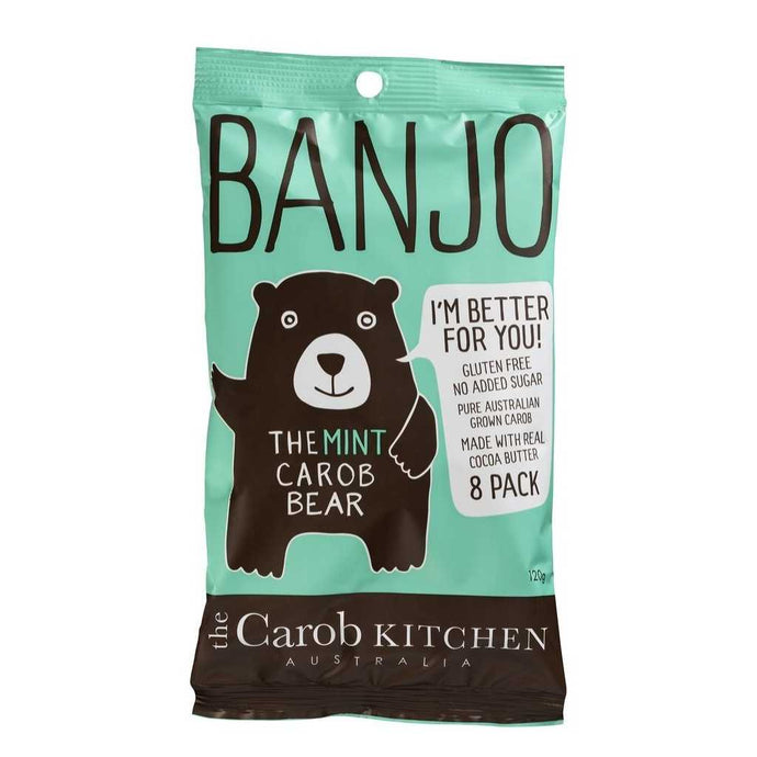 The Carob Kitchen Banjo Bear Mint 8 Pack 120g