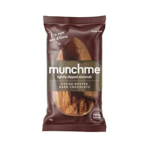Think Food Munchme Skinny Dipped Cocoa Dusted Almonds 8x80g