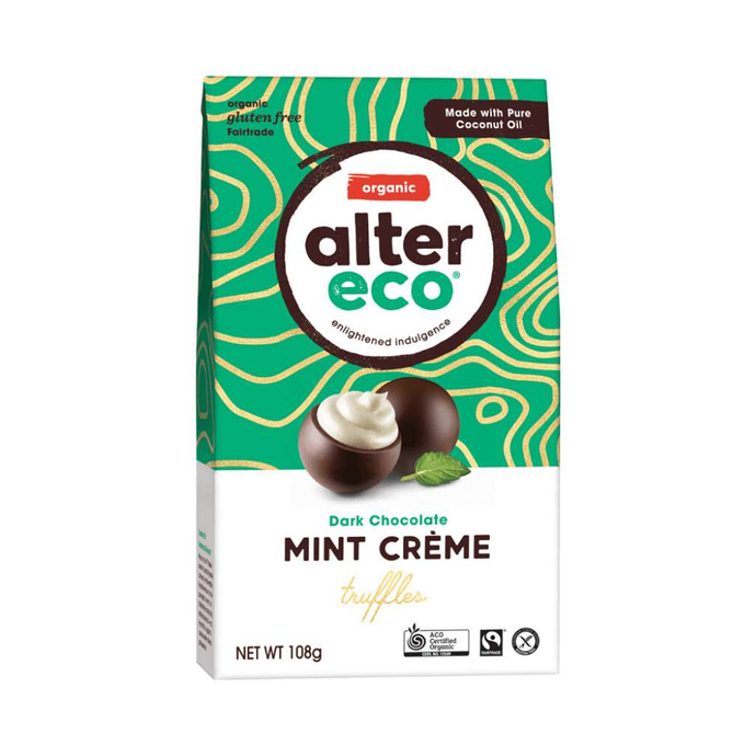 GoodnessMe Market Alter Eco Organic Chocolate Truffles Dark Mint Cream 108g