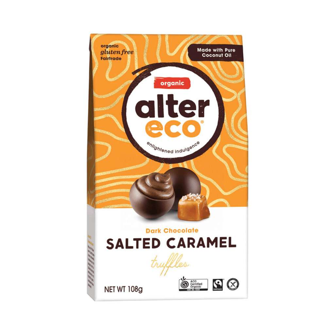 GoodnessMe Market Alter Eco Organic Chocolate Truffles Dark Salted Caramel