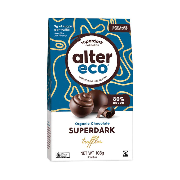 GoodnessMe Market Alter Eco Organic Chocolate Truffles Super Dark Cacao