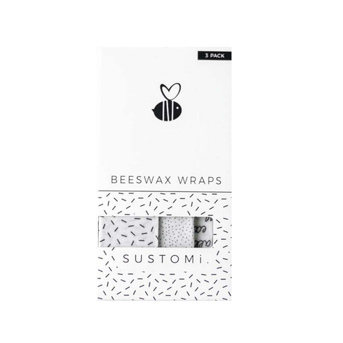 Sustomi Beeswax Wraps 3-pack of mixed sizes - GoodnessMe