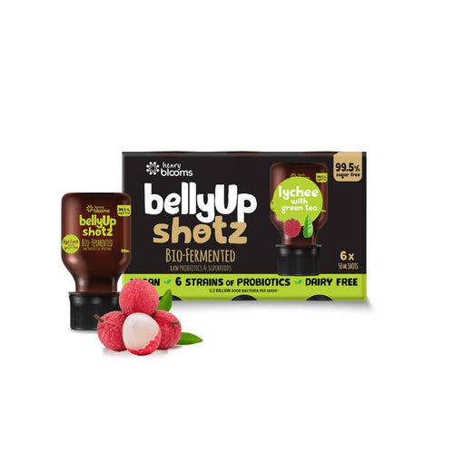 BellyUp Shotz Lychee with Green Tea (6x50ml) x4 - GoodnessMe