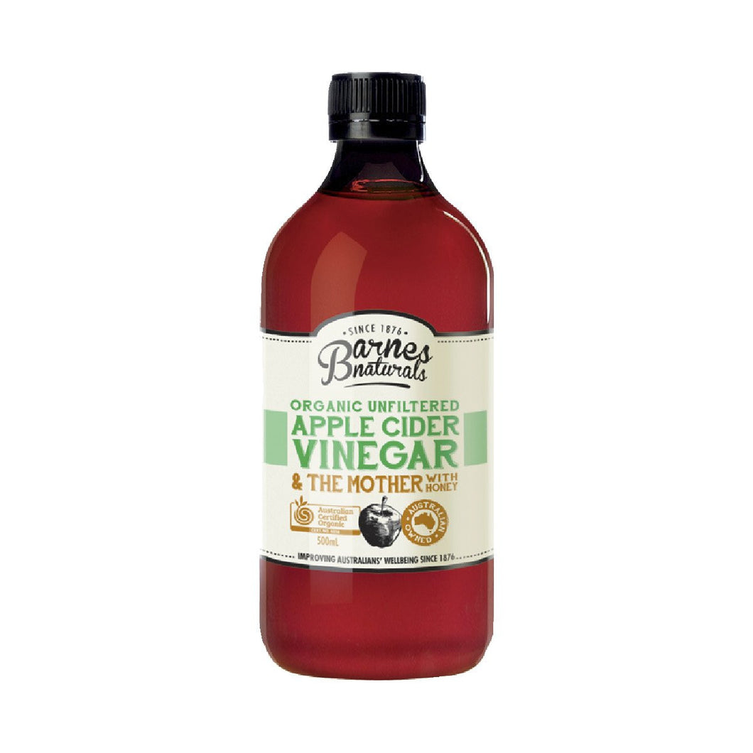 Barnes Naturals Organic Unfiltered Apple Cider Vinegar with Honey 500ml
