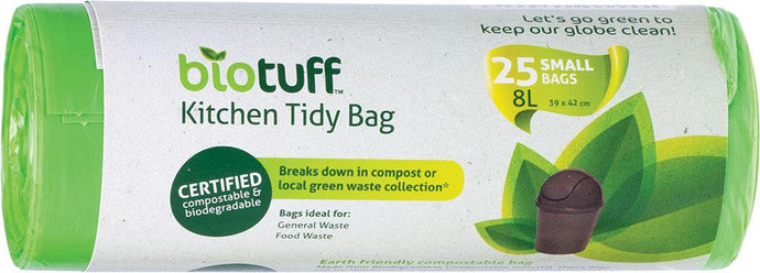 BioTuff Kitchen Tidy Bag Small Bags - 25 x 8L Bags - GoodnessMe