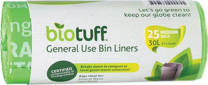 BioTuff General Use Bin Liners Medium Bags - 25 x 30L Bags - GoodnessMe