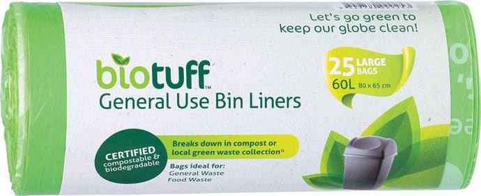 BioTuff General Use Bin Liners Large Bags - 25 x 60L Bags - GoodnessMe