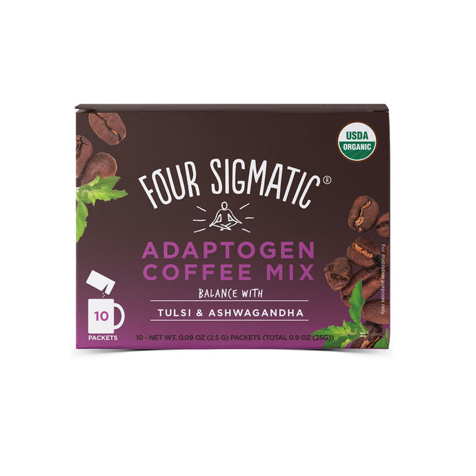 Four Sigmatic Adaptogen Coffee Mix Packets With Tulsi & Ashwagandha (10 x 2.5g) - GoodnessMe