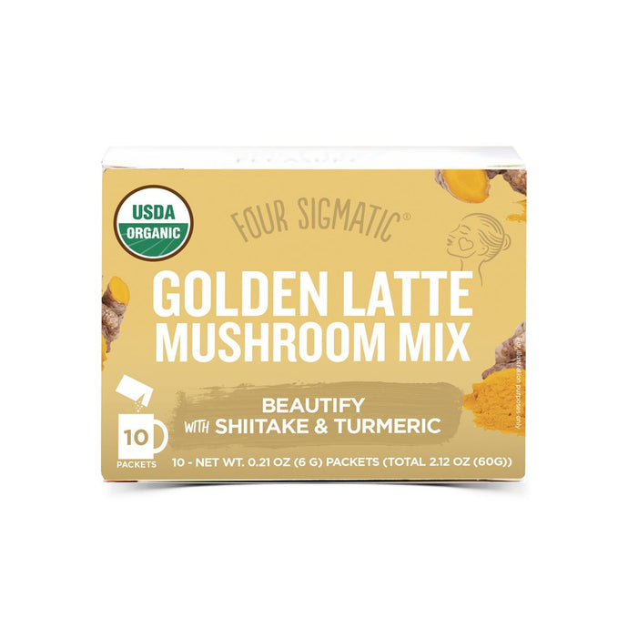 Four Sigmatic Mushroom Golden Latte Mix Packets With Shiitake & Turmeric (10 x 6g) - GoodnessMe