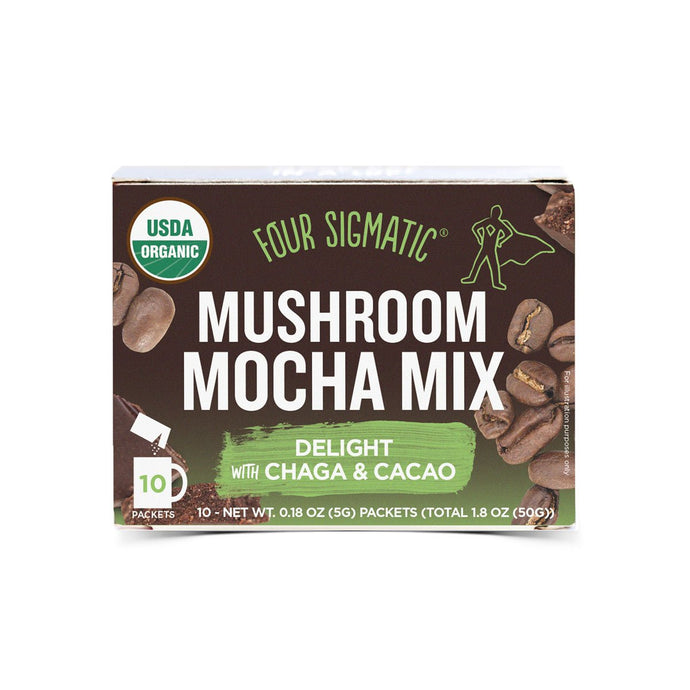 Four Sigmatic Mushroom Mocha Mix Packets With Chaga & Cacao (10 x 6g) - GoodnessMe