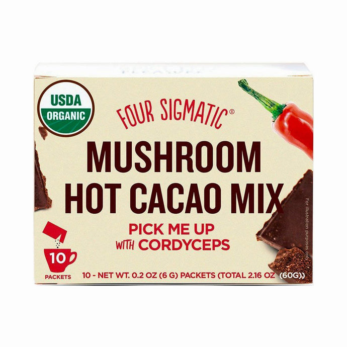 Four Sigmatic Mushroom Hot Cacao Mix Packets with Cordyceps (10 x 6g) - GoodnessMe