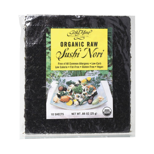 Gold Mine Sushi Nori Organic Raw (10 Sheets) 25g - GoodnessMe