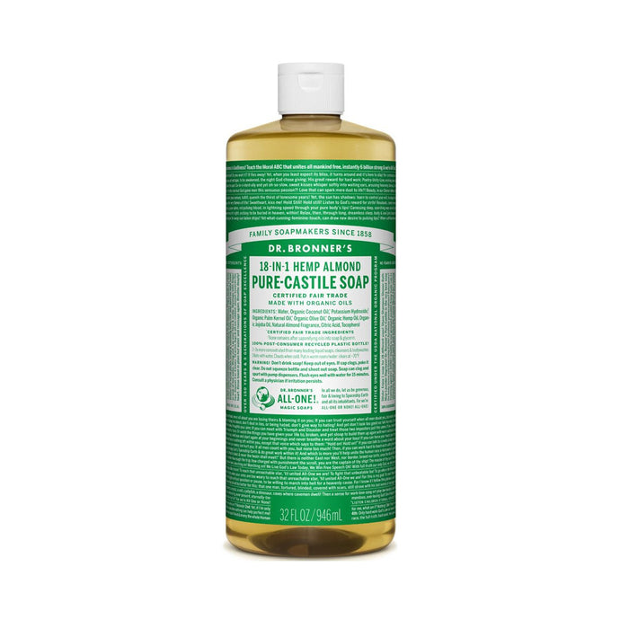Dr Bronners Pure Castile Liquid Soap -  Almond 946ml - GoodnessMe