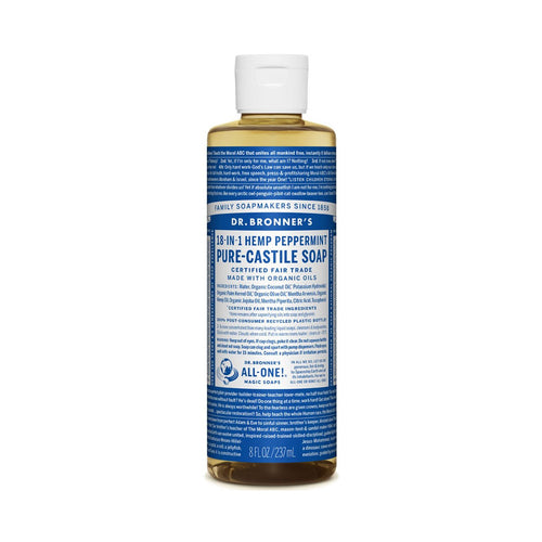 Dr Bronners Pure Castile Liquid Soap -  Peppermint 237ml - GoodnessMe