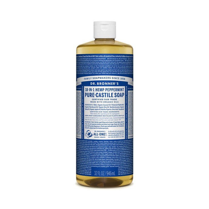 Dr Bronners Pure Castile Liquid Soap -  Peppermint 946ml - GoodnessMe