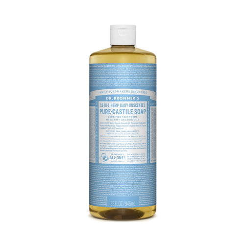 Dr Bronners Pure Castile Liquid Soap -  Baby Unscented 946ml - GoodnessMe