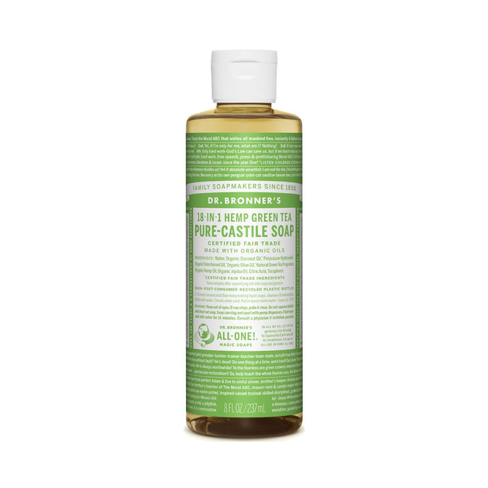 Dr Bronners Pure Castile Liquid Soap -  Green Tea 237ml - GoodnessMe