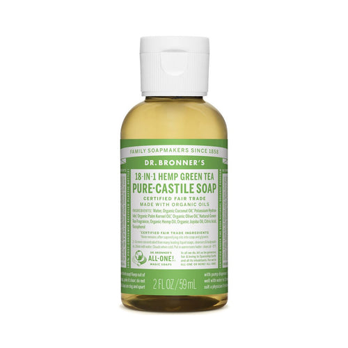 Dr Bronners Pure Castile Liquid Soap -  Green Tea 59ml - GoodnessMe
