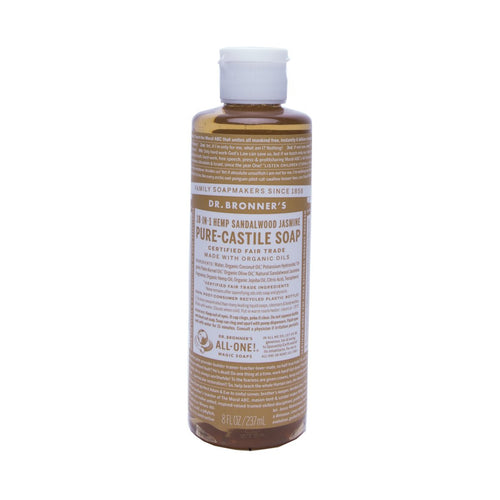 Dr Bronners Pure Castile Liquid Soap -  Sandalwood Jasmine 237ml - GoodnessMe