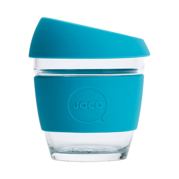 Joco Reusable Glass Cup Small 8 oz - Blue 236ml - GoodnessMe