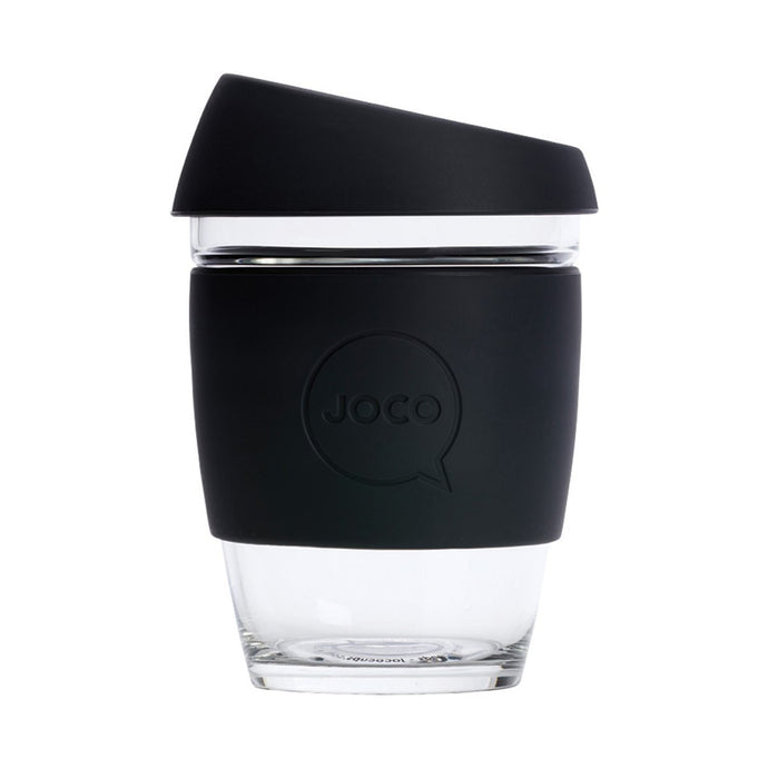Joco Reusable Glass Cup Regular 12oz - Black 354ml - GoodnessMe