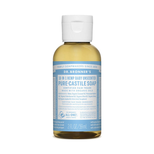 Dr Bronners Pure Castile Liquid Soap -  Baby Unscented 59ml - GoodnessMe