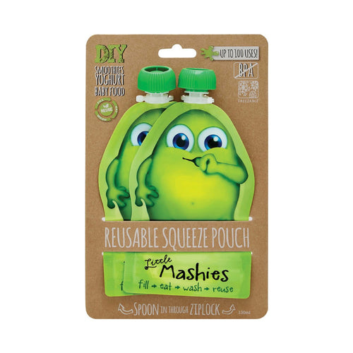 Little Mashies Reusable Squeeze Pouch Pack of 2 - Green 2x130ml - GoodnessMe